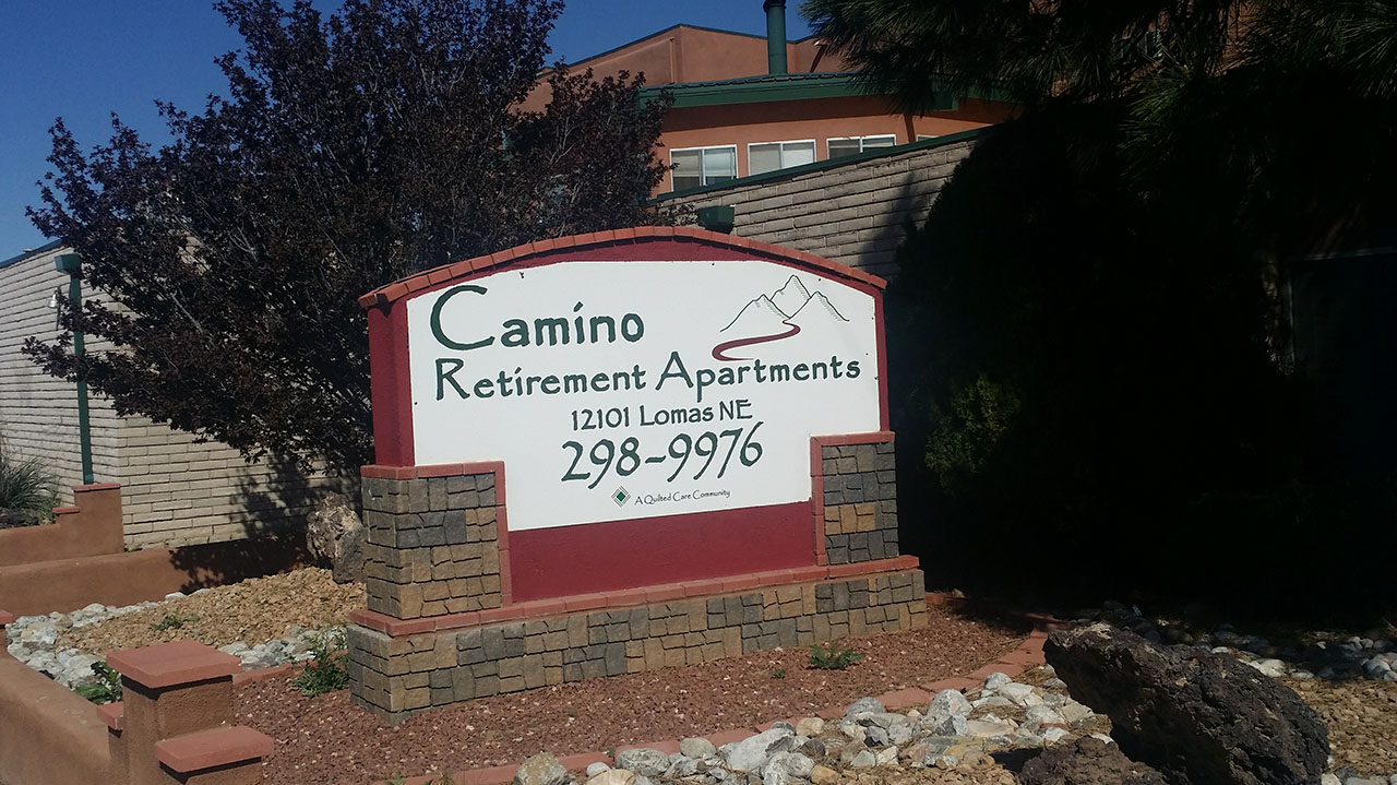 camino retirement assisted living albuquerque front sign