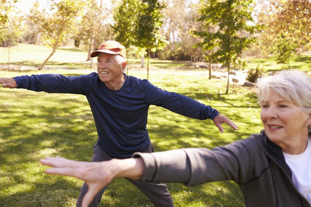 Senior couple in grassy park doing tai chi warmups