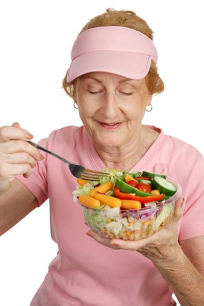 Senior eating a healthy salad