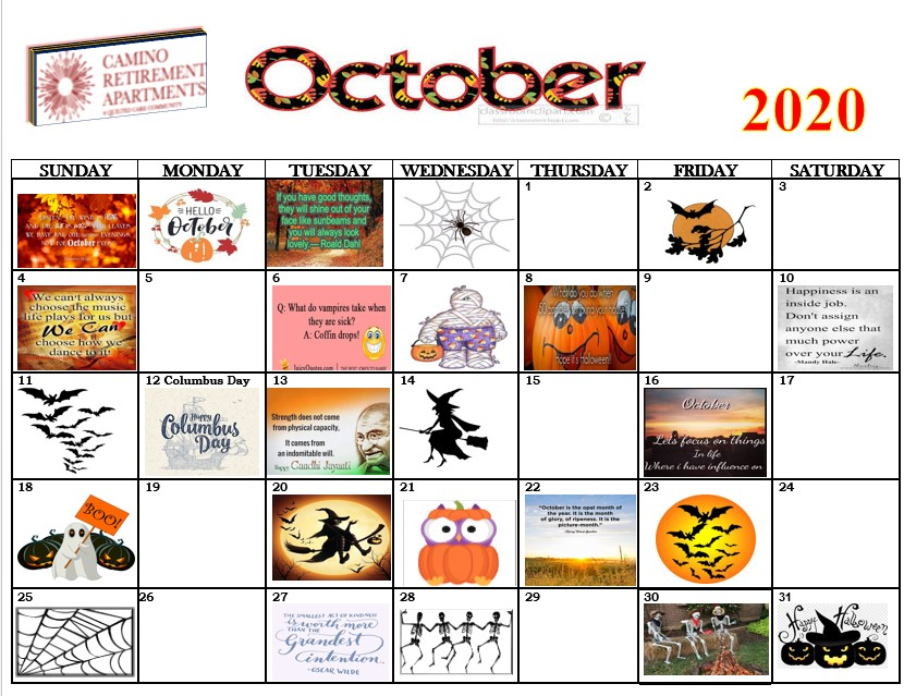 2020 October Camino calendar assisted living albuquerque